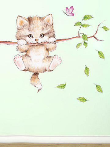 Cute Cat Branch Pattern Decorative Wall Stickers