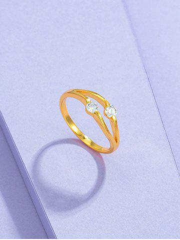 Double Zircon Inlaid Split Shank Ring