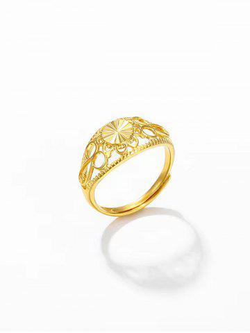 Hollow Out Gold Plated Adjustable Ring
