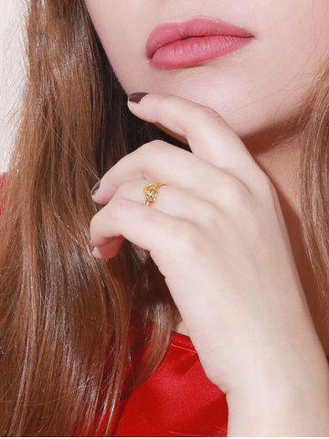 Golden Textured Interlocked Heart Adjustable Ring