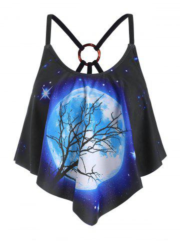 Galaxy Moon Printed Strappy O-ring Swim Top