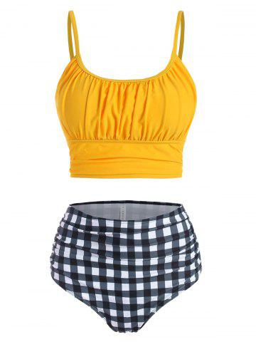 Ruched Bust Gingham Tummy Control Bikini Swimwear - YELLOW - XXL