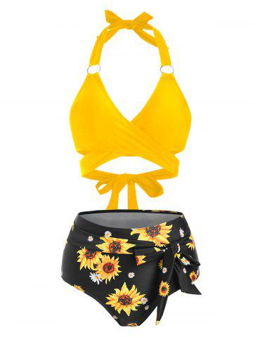 Knotted Sunflower High Rise Wrap Bikini Swimwear