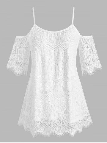 Plus Size Open Shoulder Lace Blouse - WHITE - 3X