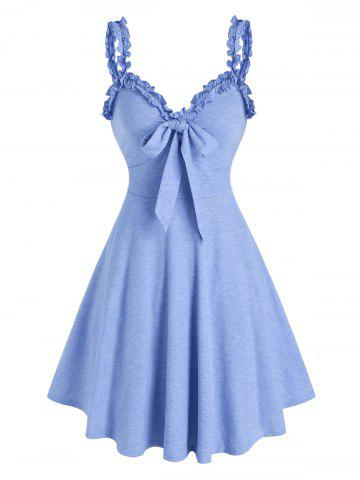 Bowknot Ruffles Fit And Flare Dress