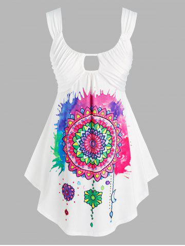 Plus Size Keyhole Ruched Floral Tank Top
