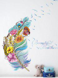 Colorful Floral Butterfly Feather Pattern Wall Sticker -