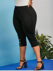 Plus Size High Rise Mock Button Capri Leggings -