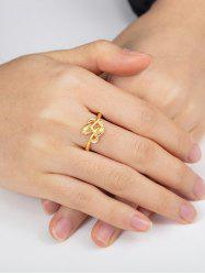 Golden Double Rose Adjustable Ring -