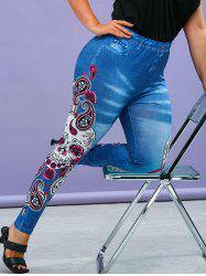 Plus Size Gothic Paisley Skull Print Jeggings -