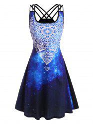 Splatter Paint Galaxy Printed Strappy Back Dress -