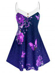 Plus Size Galaxy Flower Butterfly Backless Cami Tunic Top -