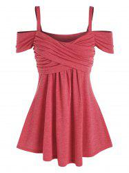 Cold Shoulder Ruched Crossover Heathered T-shirt -