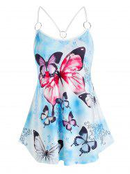 Plus Size Butterfly Printed Cami Tank Top -
