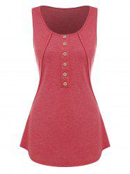 Buttons Tunic Solid Tank Top -