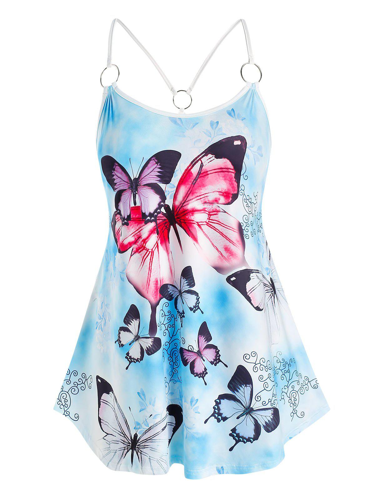 Fashion Plus Size Butterfly Printed Cami Tank Top