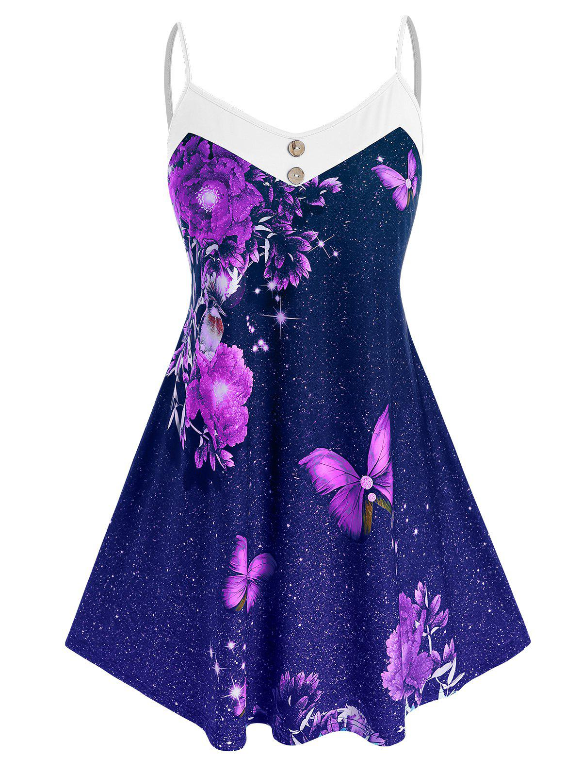 Hot Plus Size Galaxy Flower Butterfly Backless Cami Tunic Top