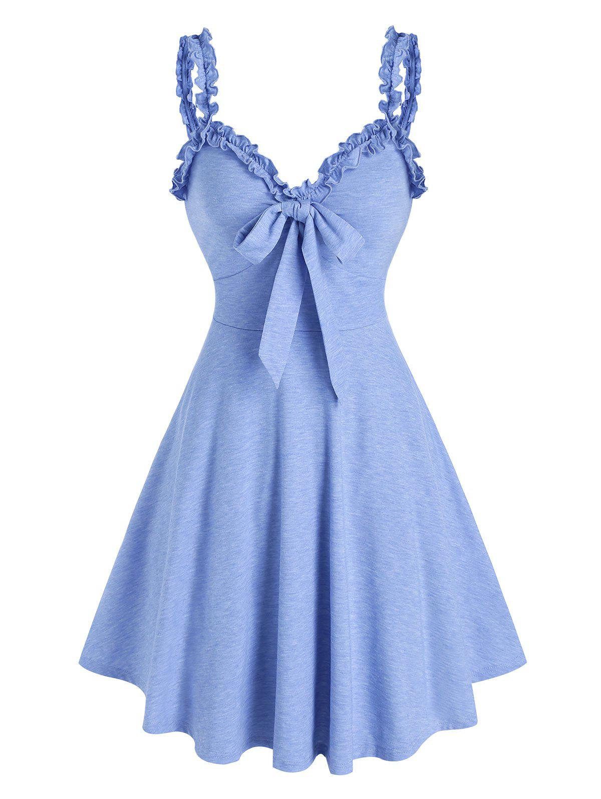 Chic Bowknot Ruffles Fit And Flare Dress