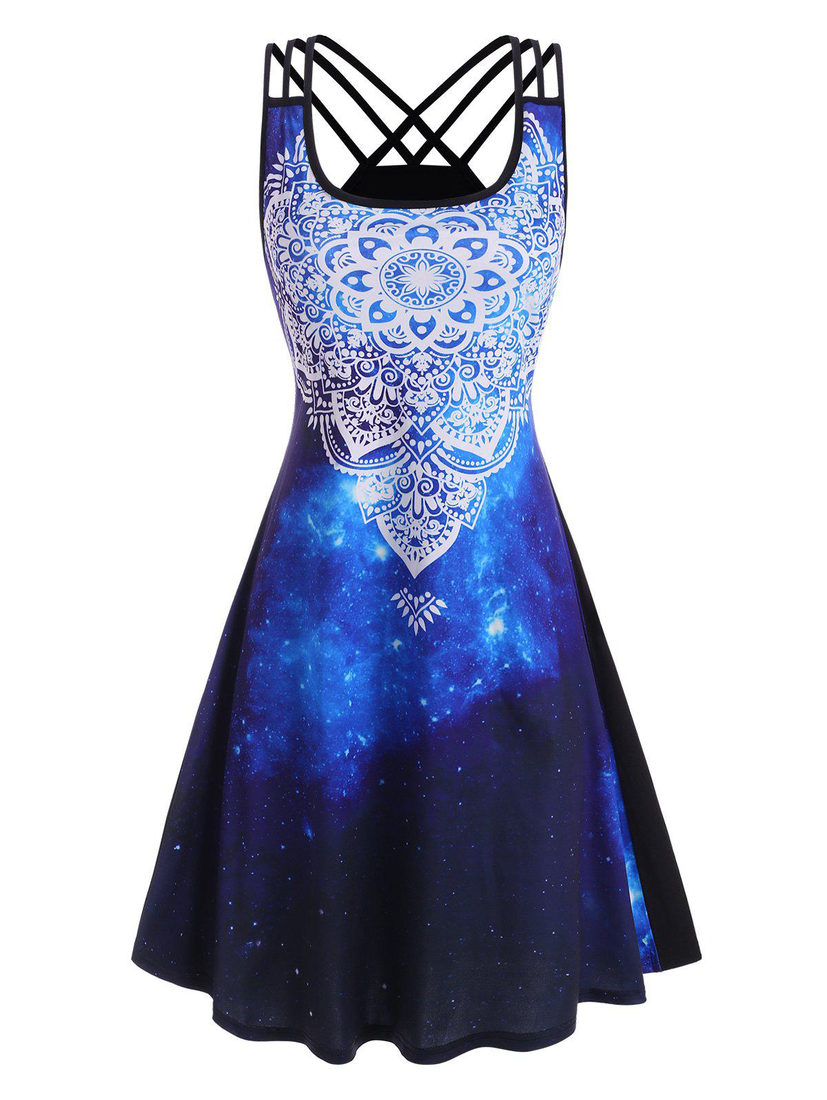 Unique Splatter Paint Galaxy Printed Strappy Back Dress