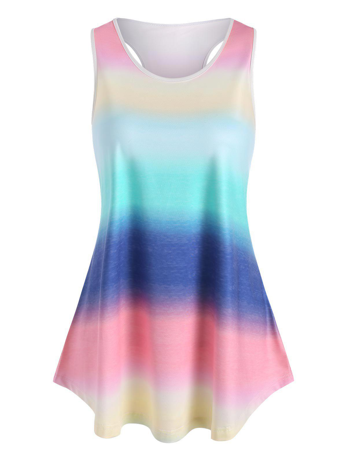 Cheap Plus Size Ombre Rainbow Racerback Binding Tunic Tank Top