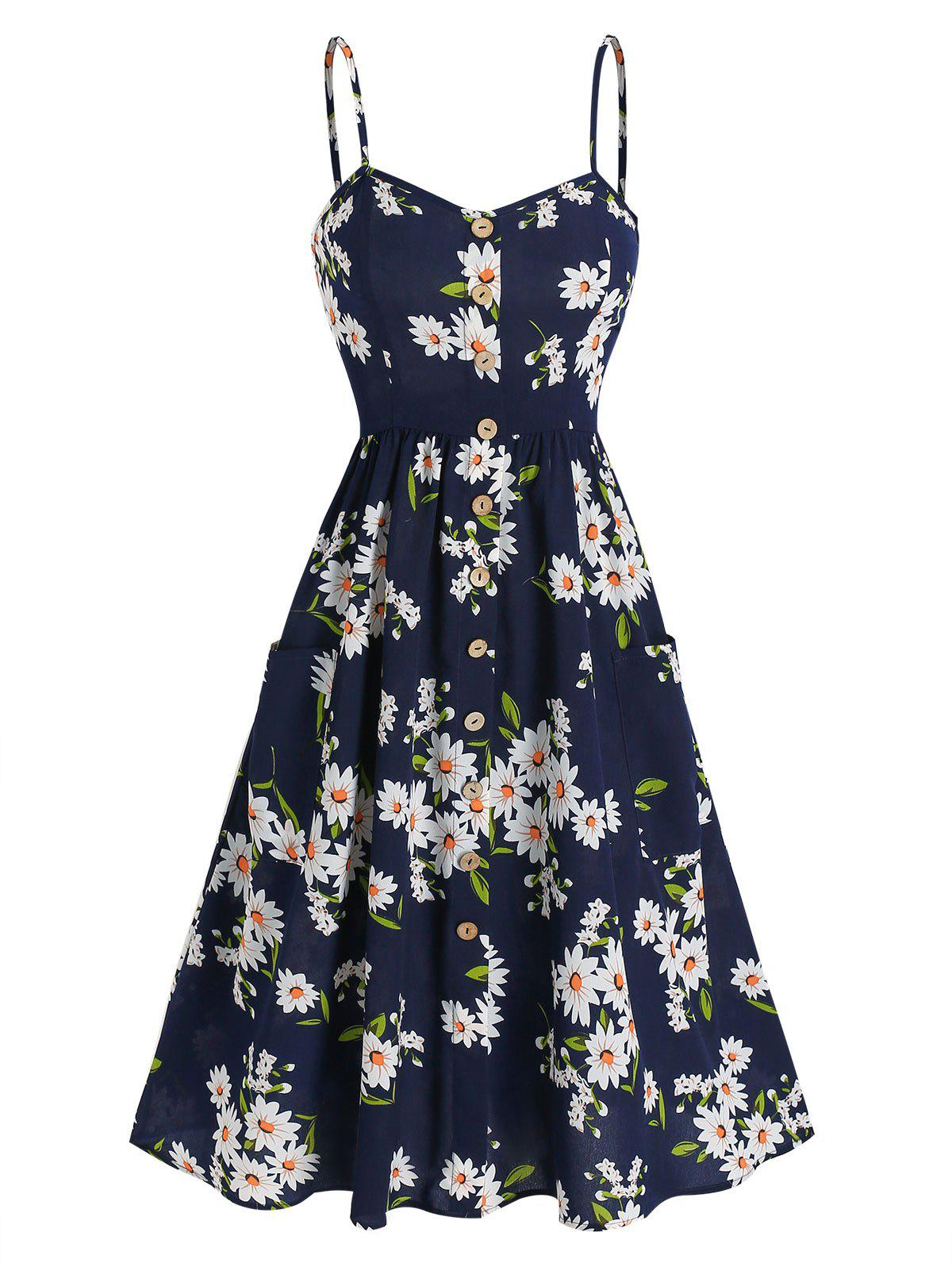 Outfit Button Up Flower Printed Slip Dress
