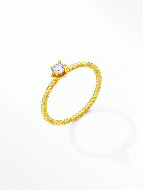 Trendy Zircon Inlaid Gold Plating Twist Ring