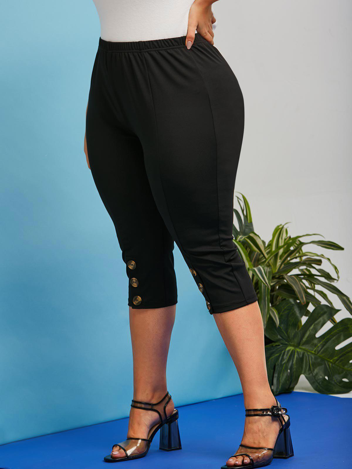Store Plus Size High Rise Mock Button Capri Leggings