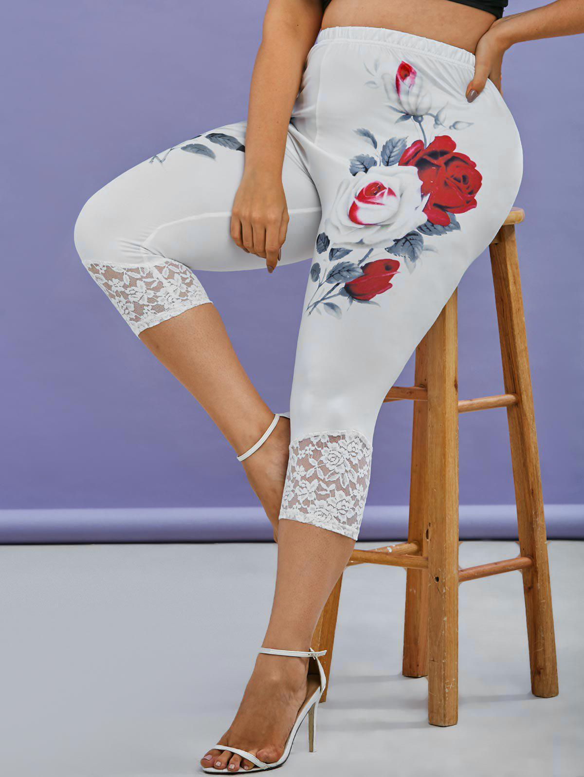 Affordable Plus Size Rose Print Lace Panel Cropped Leggings