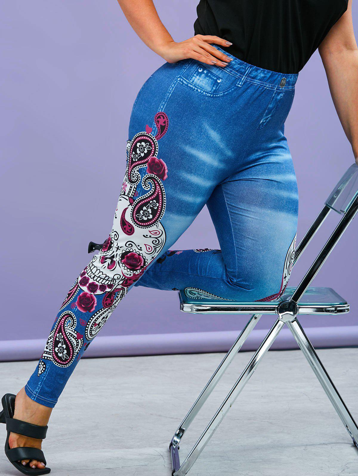 Shops Plus Size Gothic Paisley Skull Print Jeggings