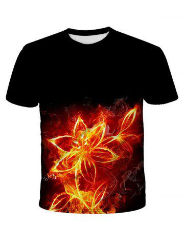 Flower Fire Print Short Sleeve T-shirt - BLACK - 3XL