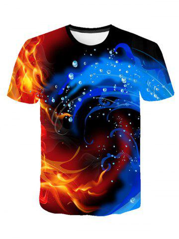 Water and Fire Print Short Sleeve T-shirt - MULTI - M