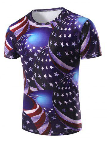 American Flag 3D Printed Short Sleeve T-shirt - MULTI - XL