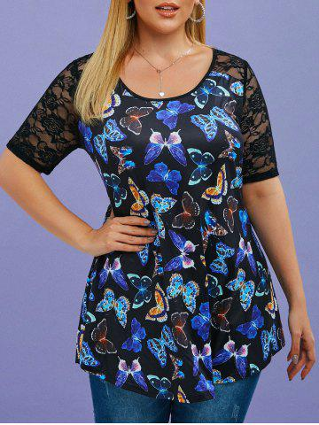Plus Size Butterfly Print Flower Lace Insert T-shirt - BLACK - 2X