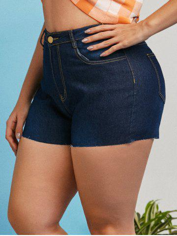 Pockets Raw Hem Plus Size Denim Shorts - DEEP BLUE - 5XL