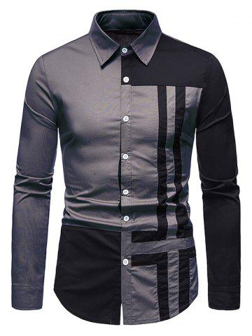 Cross Print Contrast Button Up Shirt - GRAY - XL
