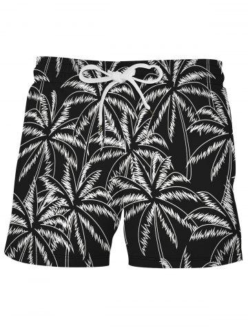 Shorts de Playa de Tablero de Estampado de Palma - BLACK - L