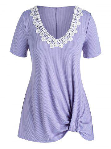 Plus Size Floral Applique Ribbed Ruched Tunic Tee - PURPLE - 3X