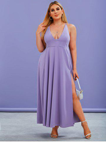 Plus Size Dual Strap Criss Cross Slit Maxi Prom Dress