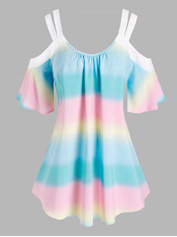 Plus Size Bell Sleeve Cold Shoulder Tie Dye Blouse