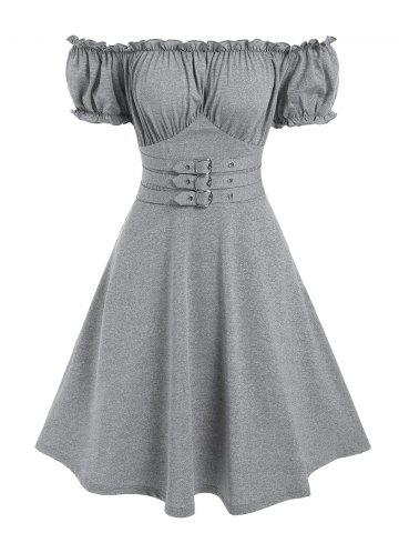 Off The Shoulder Buckle Strap Ruffle Marled Dress
