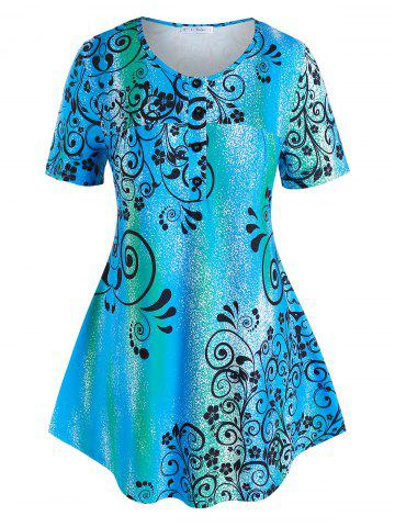 Plus Size Floral Print Curved Henley Tee - BLUE - 4X