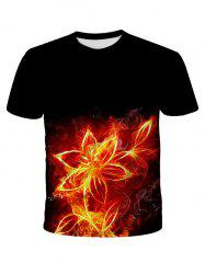 Flower Fire Print Short Sleeve T-shirt -