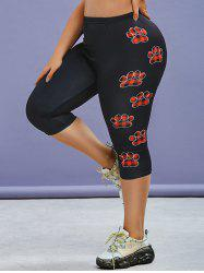 Plus Size Plaid Claw Print High Waisted Skinny Capri Leggings -