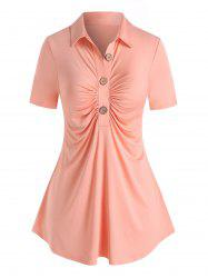 Plus Size Ruched Half Button Top -