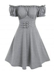 Off The Shoulder Buckle Strap Ruffle Marled Dress -
