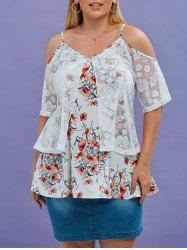 Plus Size Embroidered Lace Overlay Cold Shoulder Floral Blouse -