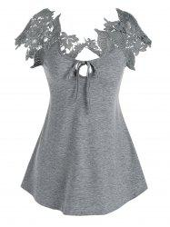 Front Tie Lace Guipure Tee -