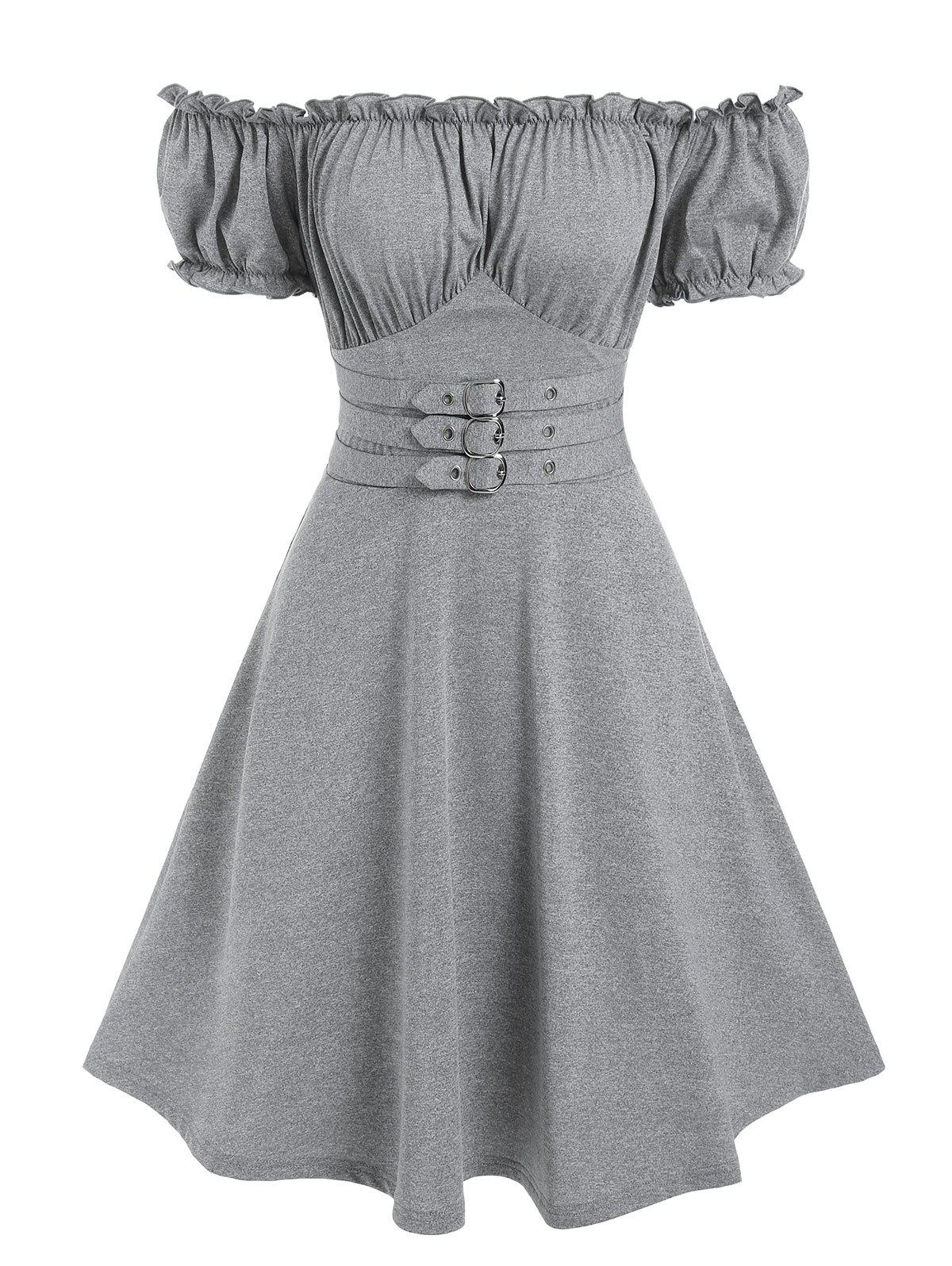 Unique Off The Shoulder Buckle Strap Ruffle Marled Dress