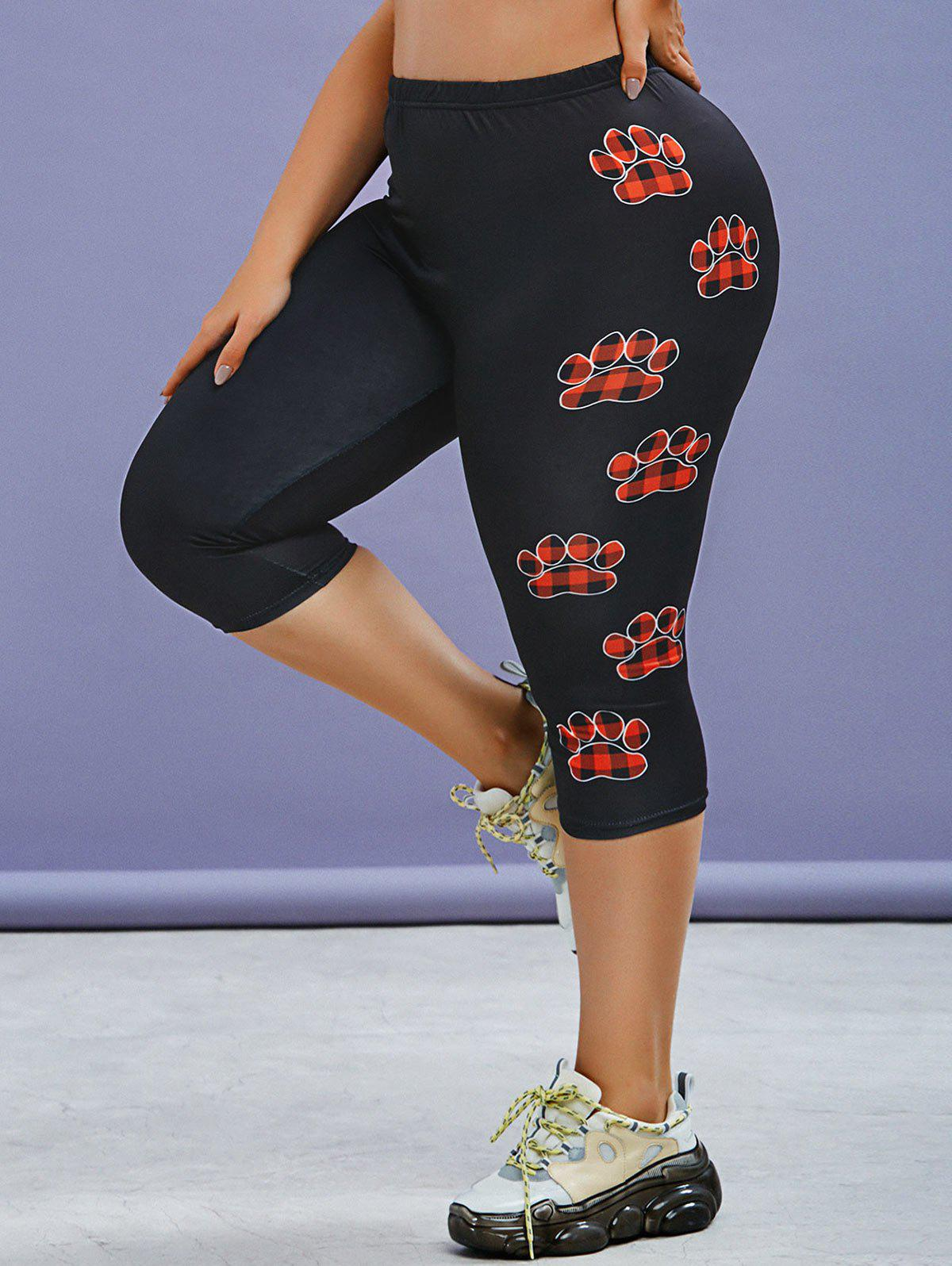 Latest Plus Size Plaid Claw Print High Waisted Skinny Capri Leggings