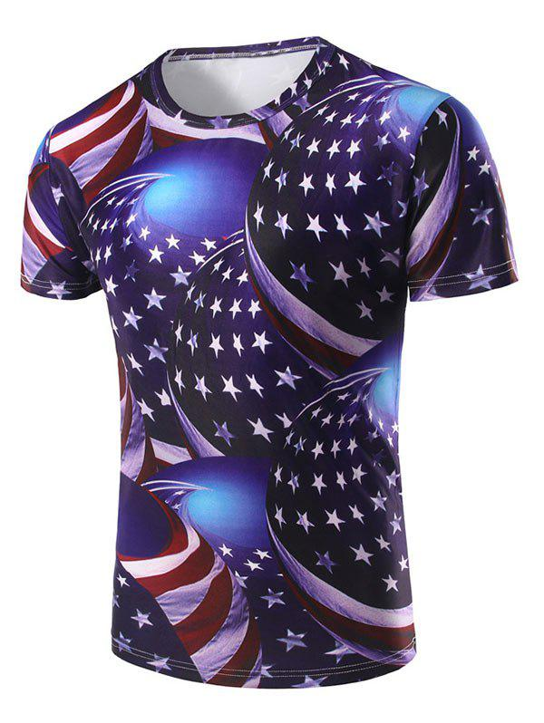 Buy American Flag 3D Printed Short Sleeve T-shirt